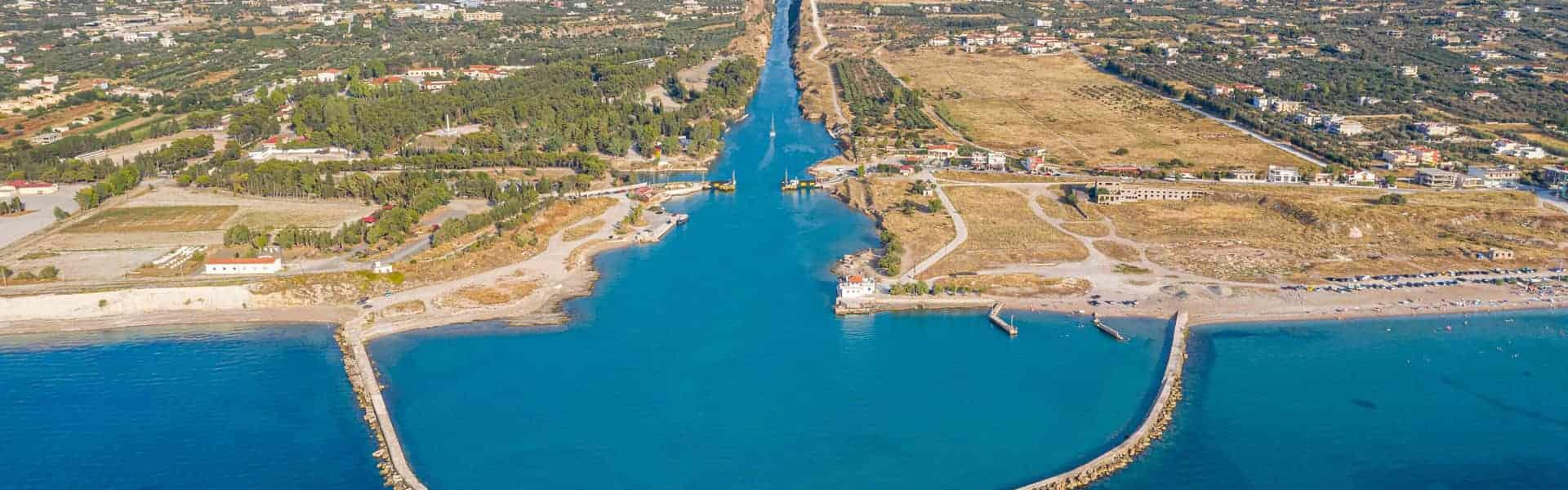 Isthmus the canal of Corinth