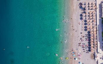 Beach in Loutraki - panoramic view