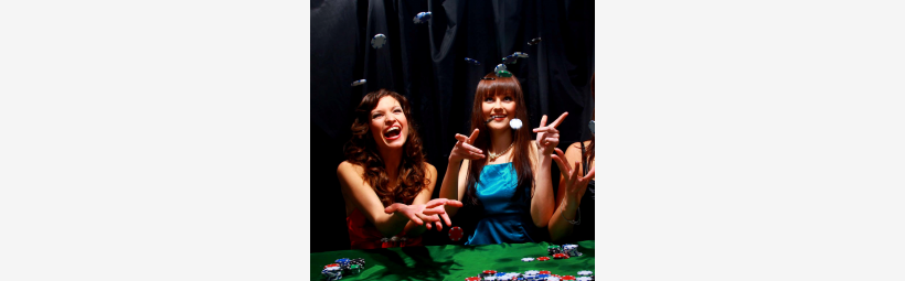 Casino players laughing